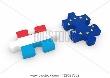 Luxembourg And Eu Puzzle Pieces - Luxembourgian And European Flag Jigsaw 3D Illustration