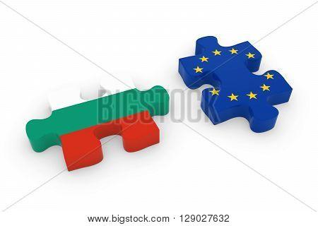 Bulgaria And Eu Puzzle Pieces - Bulgarian And European Flag Jigsaw 3D Illustration
