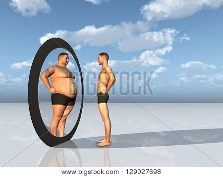 Man sees other self in mirror 3D Render