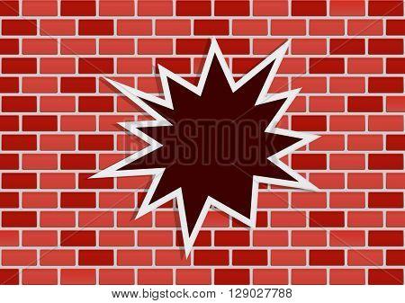 star-burst splash on vintage brick wall