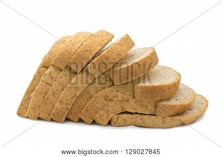 Slice of whole wheat bread isolated on white background.