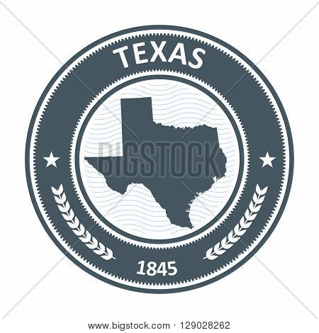 Texas round stamp with state map silhouette