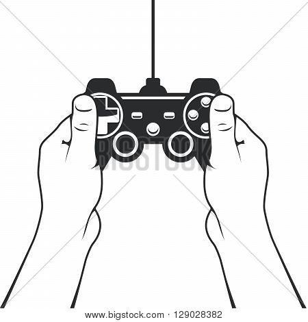 Gamepad in hands icon - game console joystick