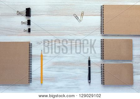 Mock Up Template of Stationary Supplies and Tools in Office Every Day Life Top View Directly from Above