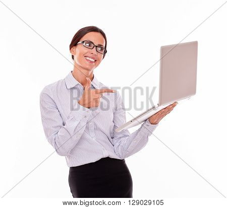 Excited Brunette Businesswoman With A Laptop