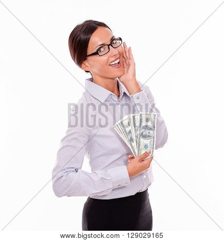 Excited Brunette Businesswoman Holding Some Money
