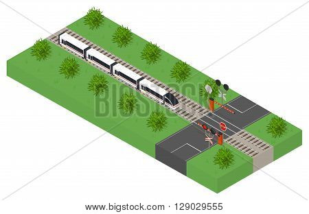 Fast isometric modern train. Public transport. High-speed intercity transportation of passengers. The barrier at the intersection. The landscape along the railway. Forbidding signal of the traffic light. Vector illustration.
