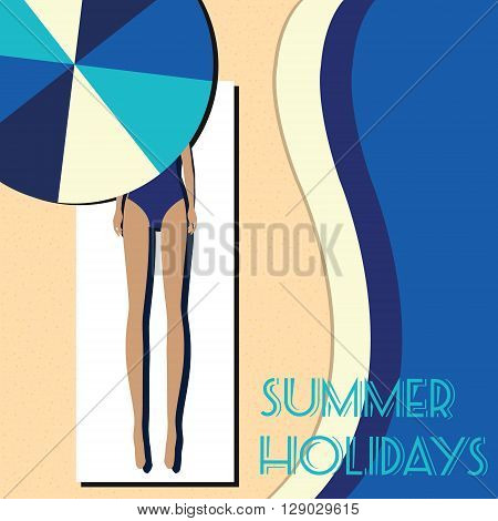 Slender woman in blue swimsuit lying on the beach under umbrella taking sunbath. Summer holidays vacation seaside scene. Vector fashion illustration in vintage retro style. Banner flyer placard advertisement template with place for your text
