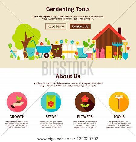 Gardening Tools Flat Web Design Template