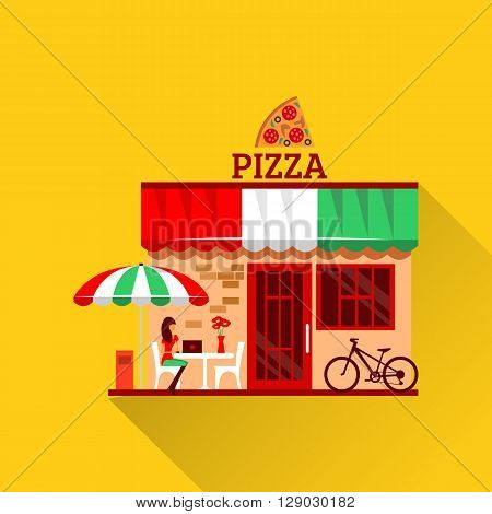 of pizza restaurant with terrace in front. Woman eats pizza at the table. Bicycle parking nearby. Pizzeria restaurant building. Food and drink concept. Summer facade. Tasty pizza icon