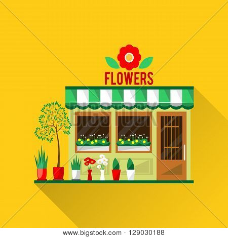 Illustration of a flowers shop. Little cute retro house and store, shop or boutique with green awning. Floral boutique. Consumer flowerpot. flat style icon. Florist shop. Cute plants