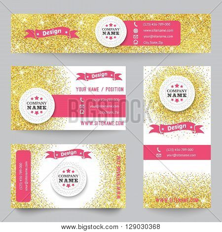 Set of corporate identity templates with golden theme. illustration for pretty design. Ethnic gold vintage frame. Pink, yellow and white colors. Border, frame, icon elements.