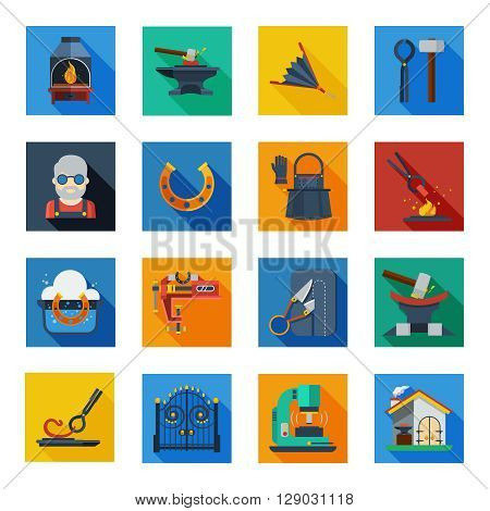 Blacksmith icons set of smithy tools work apron horseshoe welding machine in colorful squares flat vector illustration