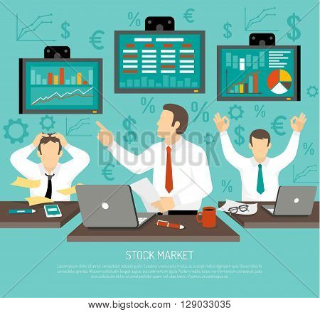 Stock Market Trader Concept. Stock Market Trader Information. Stock Market Vector Illustration. Finance Flat Symbols. Stock Finance Design.