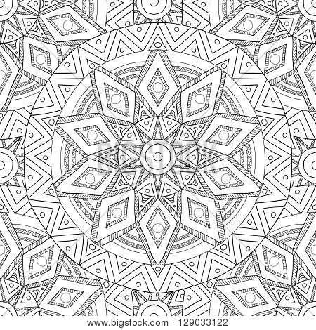 Coloring pages for adults. Coloring book.Decorative hand drawn doodle nature ornamental mandala vector sketchy seamless pattern.Islam, Arabic, Indian, turkish, pakistan, chinese, ottoman motifs