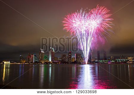 4th of July fireworks over San Diego. Long exposure night capture.