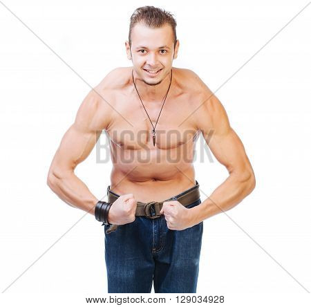 Closeup of a smiling bodybuilder - isolated on white.