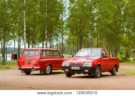 Two Red Skoda Felicia Coupe Wagon And Pickup, Retro-club Of Czech Automaker