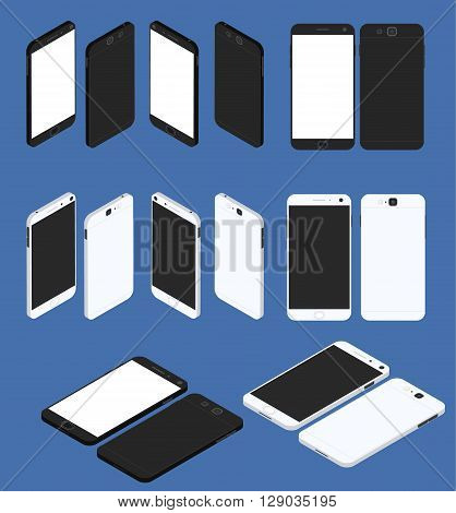 Cell phone. Flat isometric. Big set of Mobile device. Modern technologies of communication. Communication and management. White and black smartphone. Touchscreen display. Vector illustration.