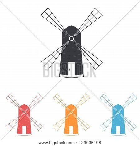 Windmill. The flat icons. The logo of subsistence agriculture. Label baked goods. Vector illustration.