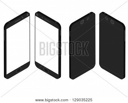 Cell phone. Flat isometric. Mobile device. Modern technologies of communication. Communication and management. Black smartphone. Touchscreen display. Vector illustration.