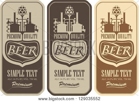 Beer labels with the brewery machine to make beer