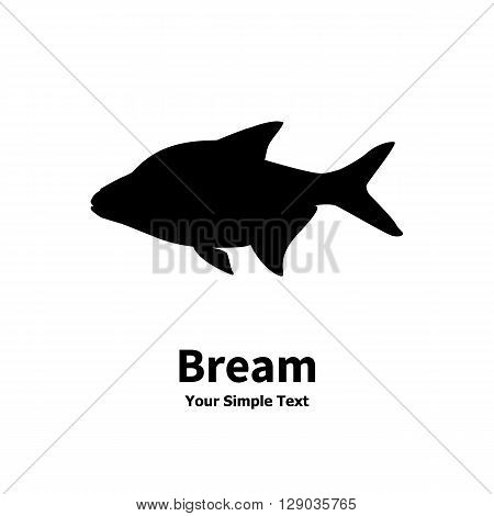Vector illustration silhouette of fish bream. Isolated on white background.