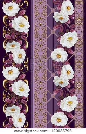 Vertical floral border. Pattern seamless. Old style gold border gold mosaic. Flower garland of roses and red leaves.