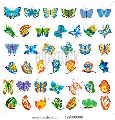 vector illustration of collection of colorful butterfly for designing