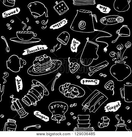 Tea party kitchen tools seamless pattern  sketch black and white