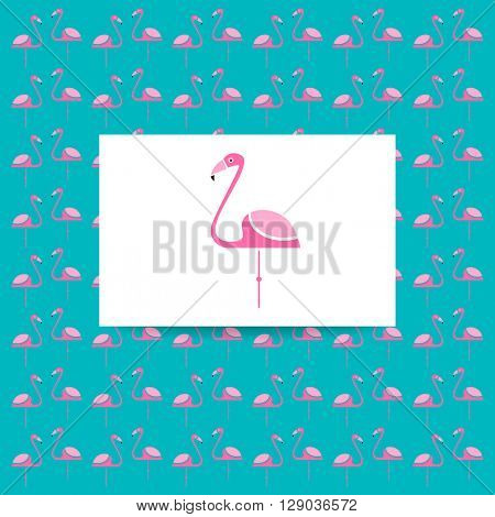 Flamingo logo. Identity card and pattern. Vector illustration pink flamingo. Exotic bird. Flamingo illustration idea for logo, emblem, symbol, icon. Vector illustration.