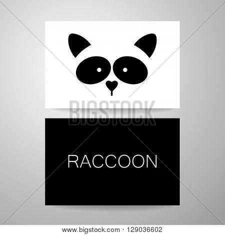 Raccoon logo. Raccoon design card. Raccoon mascot idea for logo, emblem, symbol, icon. Vector illustration.