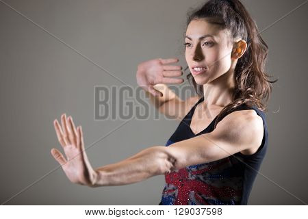 Beautiful Caucasian Female Athlete Working Out