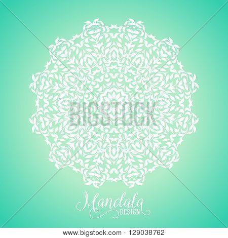 Vector illustration of big detailed mandala. Floral abstract background. Concept round ornament for yoga studio, meditation, Indian, Arabic or Thai cuisine restaurant, tattoo salon, wedding invitation