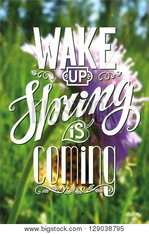 Spring design, Handwriting lettering, quotes.Vector Wake up Spring is coming.Flower, nature blurred background.Spring day season, springtime wallpaper, text.Web and art, calligraphic Retro Illustration.Vertical
