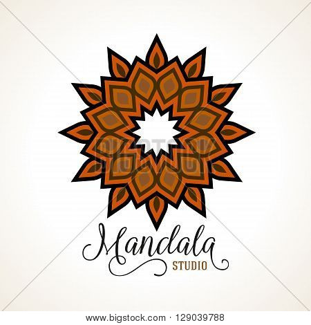 Vector illustration of geometric mandala in vintage bronze copper colors. Round ornament with Arabic, Moroccan, Turkish, Indian, Aztec motif. Abstract star design for tattoo salon or yoga studio logo