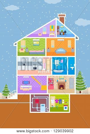 vector illustration of House in cut view with detailed interior and furniture
