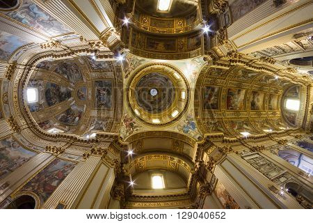 ROME ITALY - March 28 2016: Sant'Andrea della Valle is a basilica church in the rione of Sant'Eustachio of Rome. The fresco decoration of the dome was one of the largest commissions of its day.