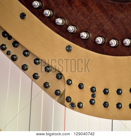 Pedal Harp Tuning Mechanisms Closeup