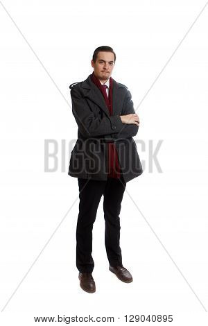 A young well dressed man on white background