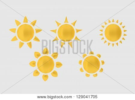 Collection of the sun with different sun rays. 3D illustration.