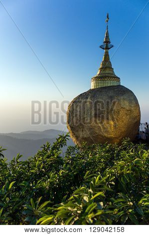 Myanmar the delicately balanced golden Stupa on the sacred Buddhist mountain of Kyaikhto