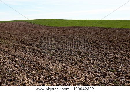 Arable land. Plowed field before planting. The brown earth and green grass on gorizonete. Rural landscape