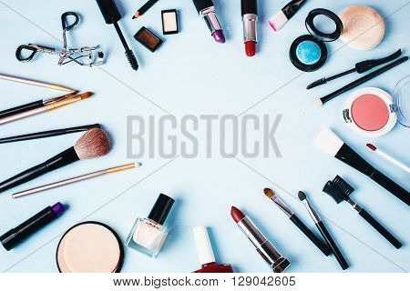 Various Make Up And Beauty Products.
