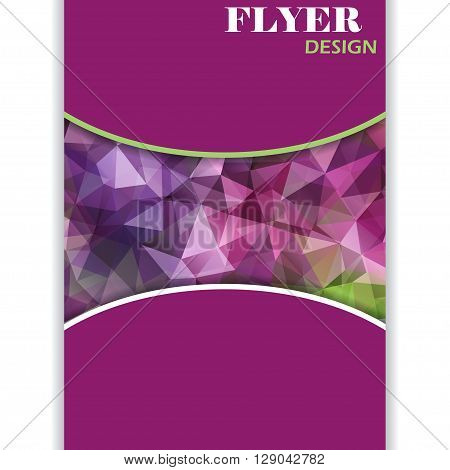 Vertical vector presentation of business poster, magazine cover on polygonal background. Purple and green color