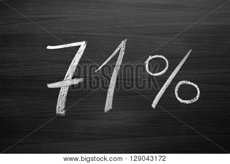 71 percent header written with a chalk on the blackboard