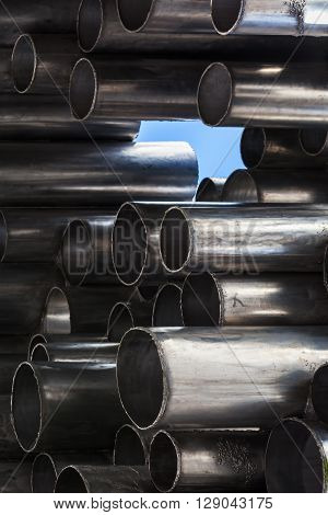 Shining Metal Tubes, Abstract Industrial Background