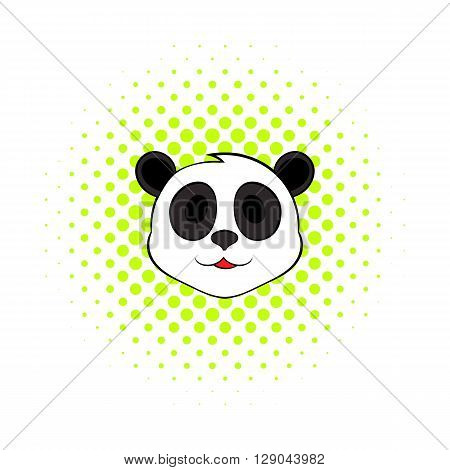 Panda bear head icon in comics style on a white background