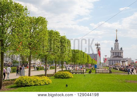 MOSCOW RUSSIA, MAY 09: Alley with lime trees on VDNKh exhibition May 09, 2015