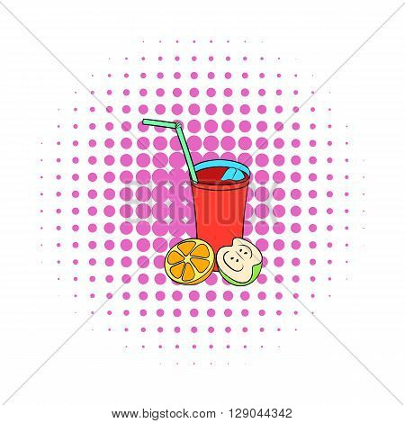 Glass of sangria icon in comics style on a white background